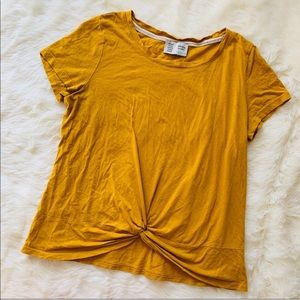 Anthro Saturday Sunday Mustard Twist Front Tee